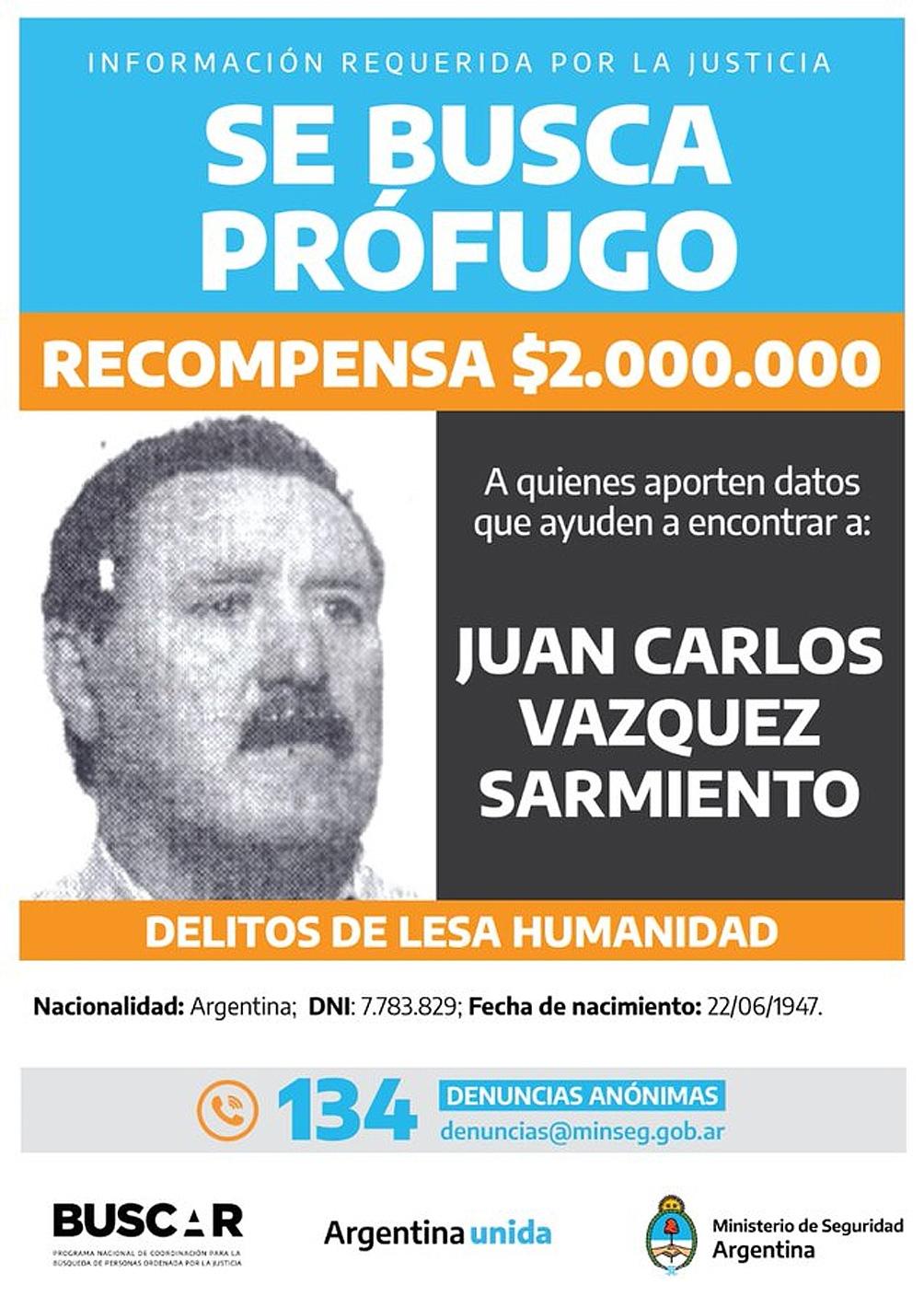 Juan Carlos Vázquez Sarmiento estuvo prófugo durante 18 años.