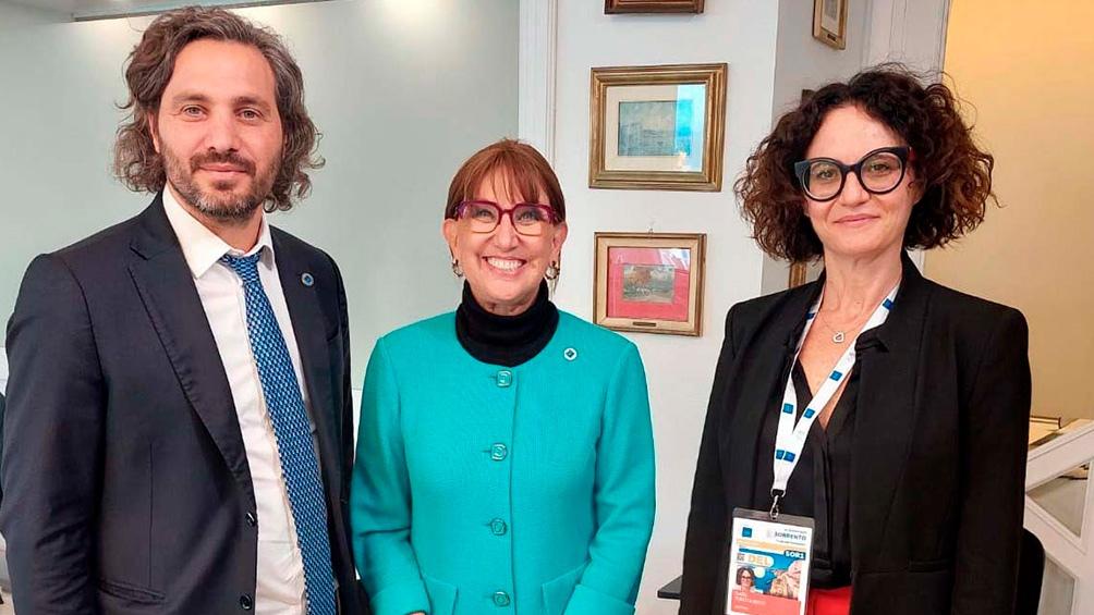 Santiago Cafiero y Rebeca Grynspan dialogaron, junto a Cecilia Todesca Bocco, en el marco de la Sesión de Ministros de Comercio e Inversiones del G20 en Italia.