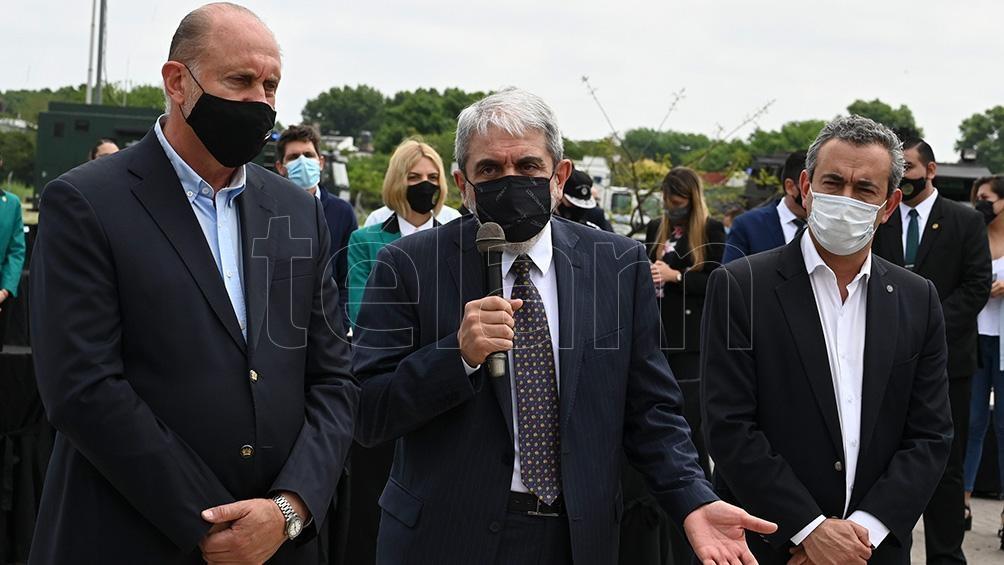 """""""Venimos para ponerle fin a este tema"""", sentenció el titular de la cartera de Seguridad. Foto: Sebastián Granata."""