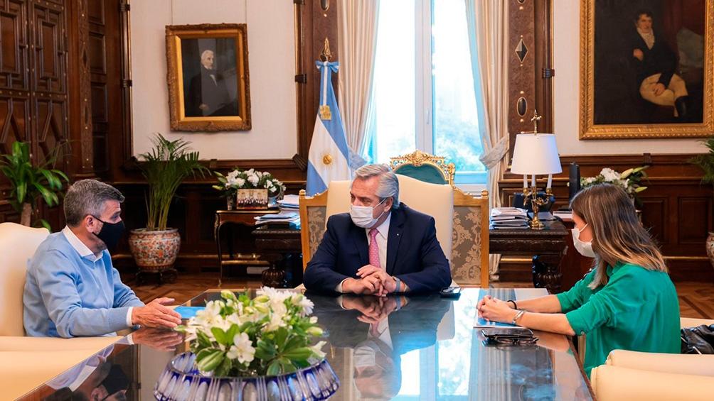 Raverta y Zabaleta se reunieron también con el Presidente. Foto: Presidencia.