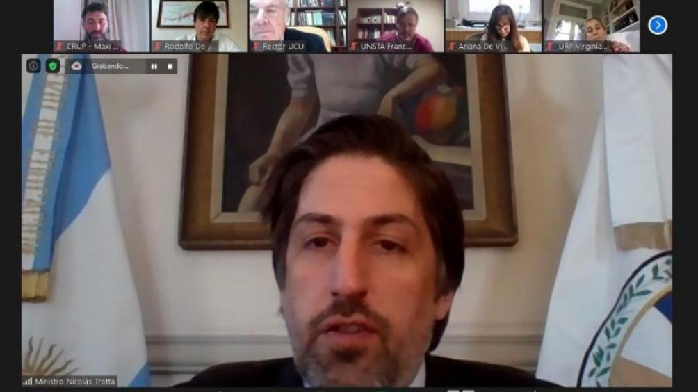 Nicolás Trotta mantuvo una videoconferencia con autoridades de las universidades