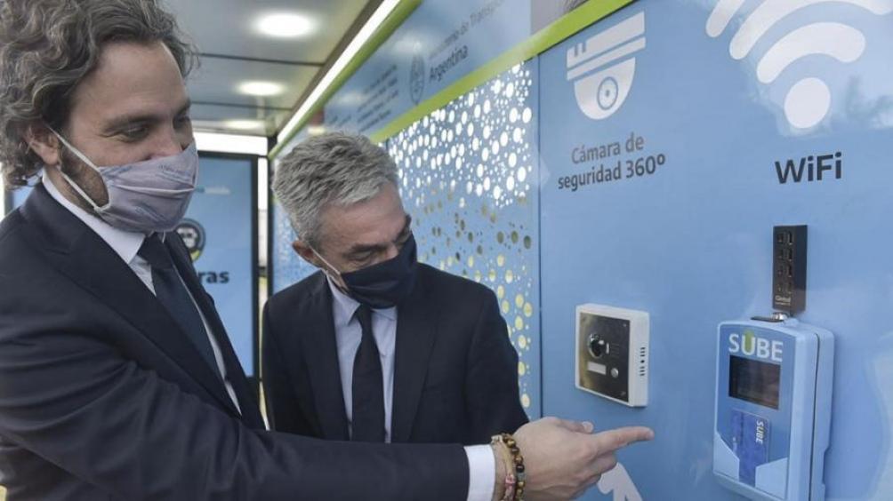 El jefe de Gabinete, Santiago Cafiero, y el ministro de Transporte, Mario Meoni, participaron del anuncio en San Isidro.