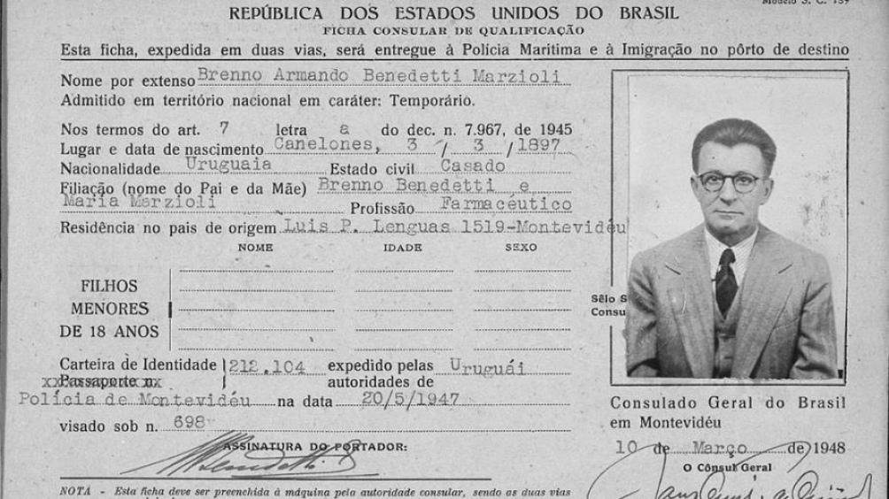 Ficha de migración de su padre, Brenno Armando Benedetti Marzioli.
