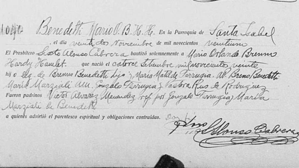 El acta de bautismo del escritor uruguayo.