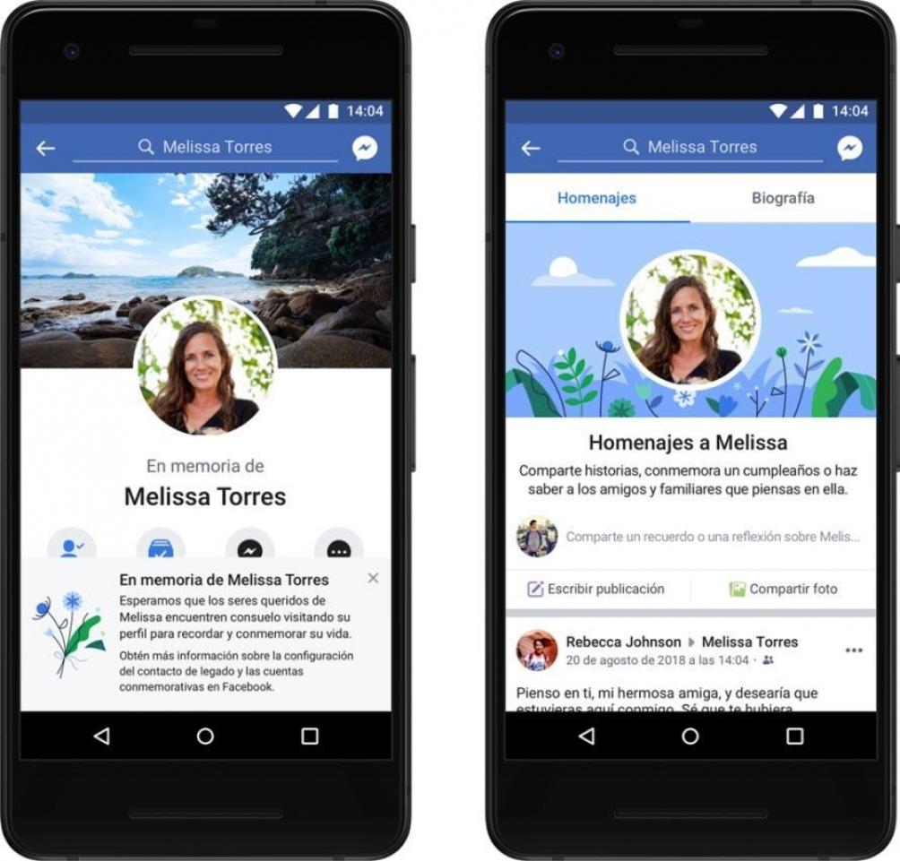 Facebook ofrece la opción de transformar los perfiles de personas fallecidas en cuentas conmemorativas.