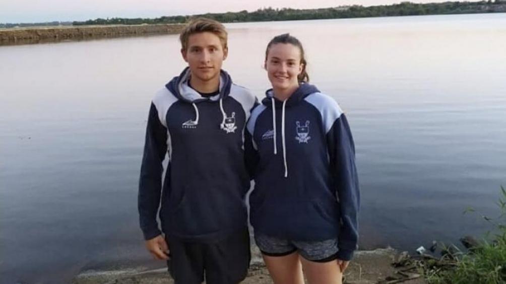 Peter Dickson junto a Olivia Peralta Martínez, representantes del Buenos Aires Rowing Club en el mundial. Foto: facebook.com/BuenosAiresRowingClub